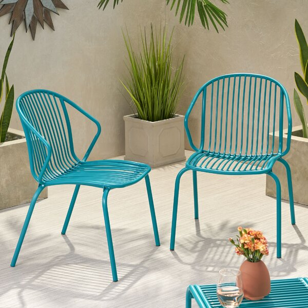 Corbeil Outdoor Modern Patio Chair (Set of 2) by Ebern Designs Ebern Designs