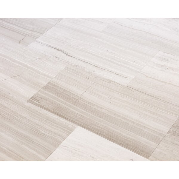 Wooden White 6 x 12 Marble Wood-Look Tile in Gray by Ephesus Stones