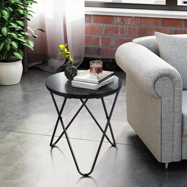 Tindal Glass Top Cross Legs End Table By 17 Stories