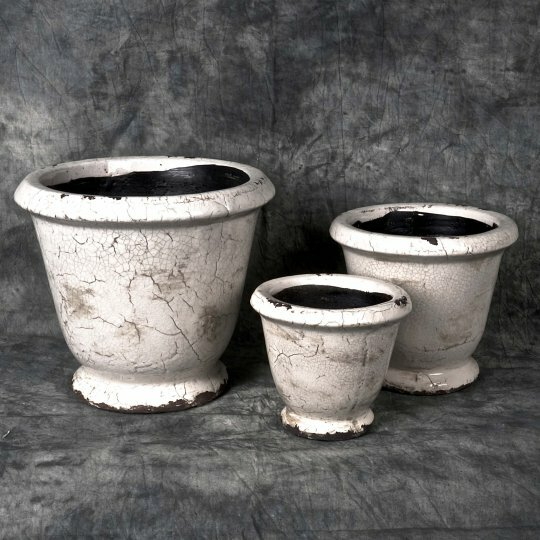 Cracked Glaze 3-Piece Ceramic Pot Planter Set by Mr. MJs