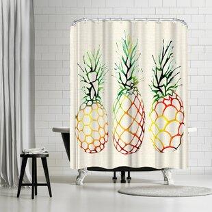 Sam Nagel Burlap Pineapples Shower Curtain