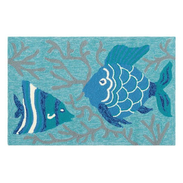 Go Fish Hand-Hooked Lake Indoor/Outdoor Area Rug by CompanyC