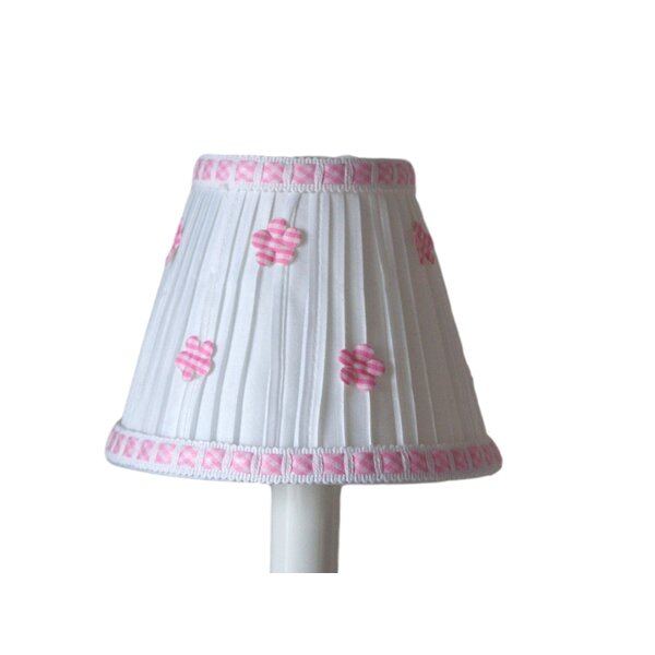 Gingham 4 H Fabric Empire Candelabra Shade ( Clip On ) in White/Pink