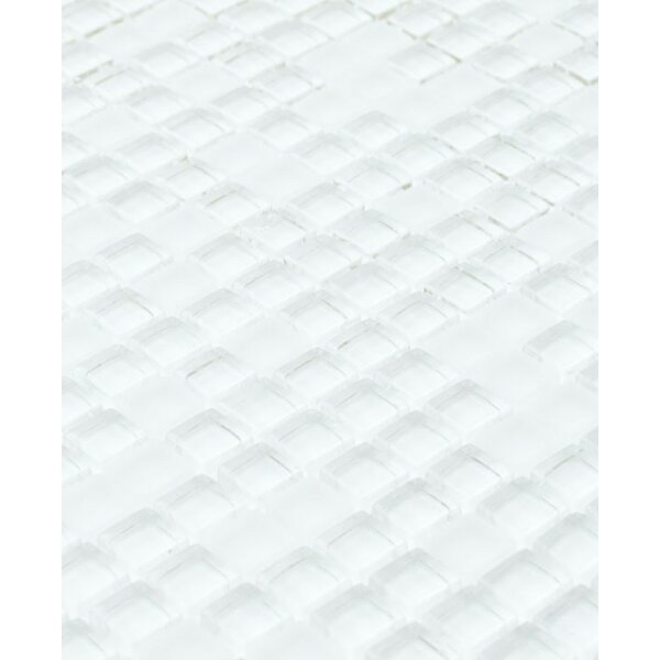 Micron 0.38 x 0.38Glass Mosaic Tile in Ice White by Madrid Ceramics