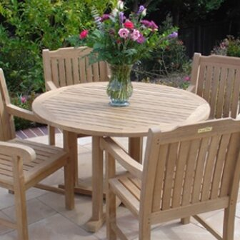 Teakwood Cambridge Round Dining Table by Royal Teak by Lanza Products