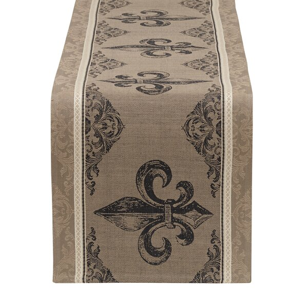 Fleur De Lis Stripe Jacquard Table Runner by Design Imports