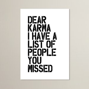 Dear Karma Textual Art by Wrought Studio