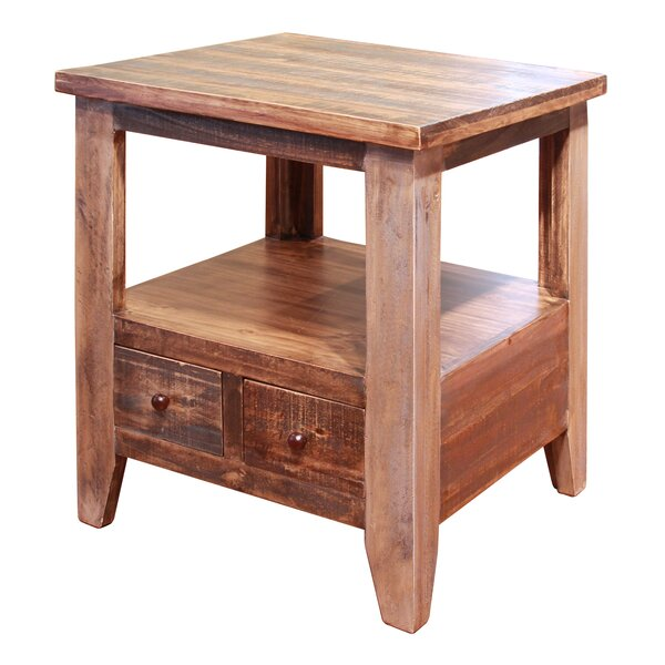 Robbs End Table with 2 Drawer by Loon Peak