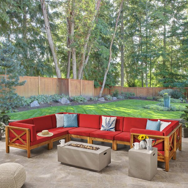 Hampton Outdoor 10 Piece Sectional Seating Group with Cushion by Longshore Tides