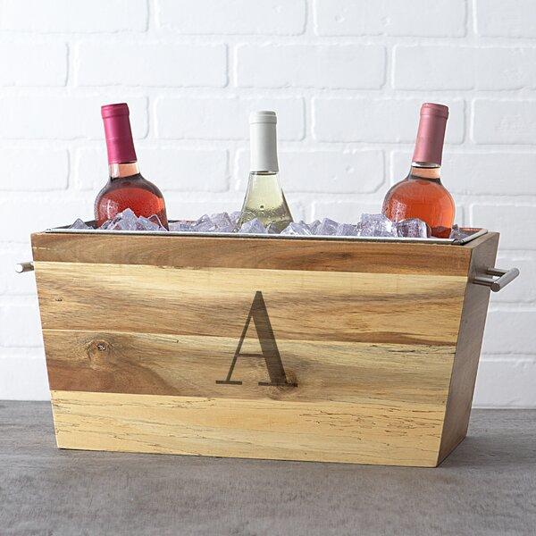 Deimel Single Initial Acacia Wine Trough by Ebern Designs