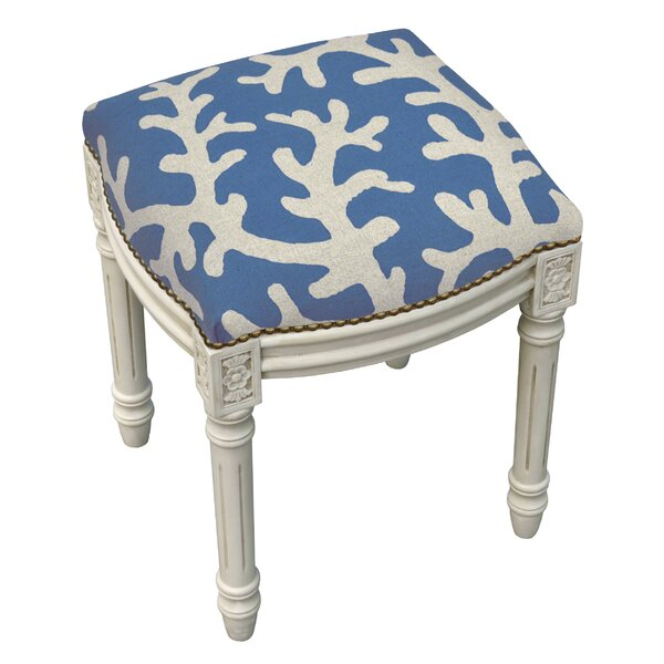 Colleton Linen Upholstered Vanity Stool by Rosecliff Heights