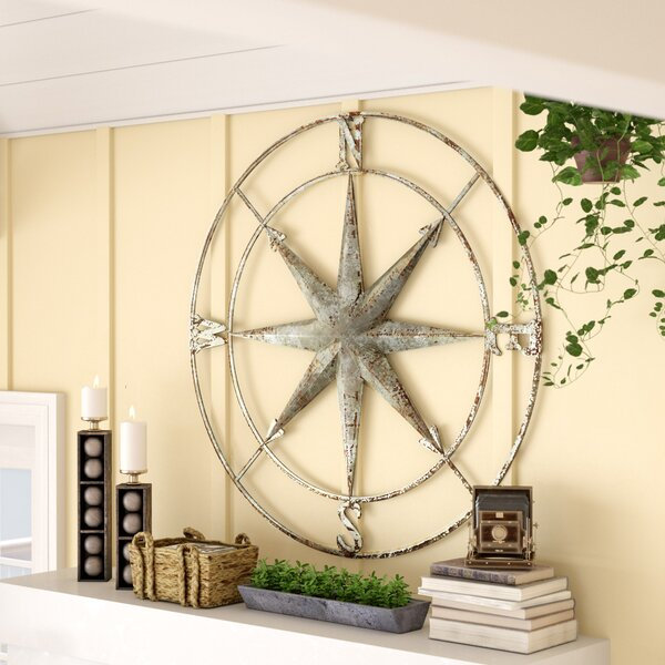 Round Metal Compass Wall Décor by Three Posts