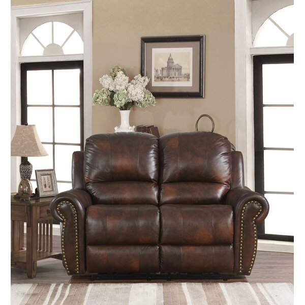 Our Offers Brode Power Leather Reclining Loveseat by Darby Home Co by Darby Home Co