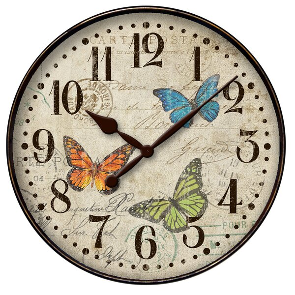 Eesha 12 Round Butterfly Wall Clock by Ophelia & Co.