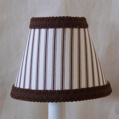 Hickory Dickory Dock 4 H Fabric Empire Candelabra Shade ( Clip On ) in Brown/White