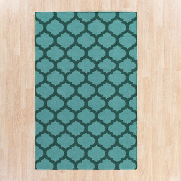 Hackbarth Hand-Woven Teal/Dark Green Area Rug by Zoomie Kids