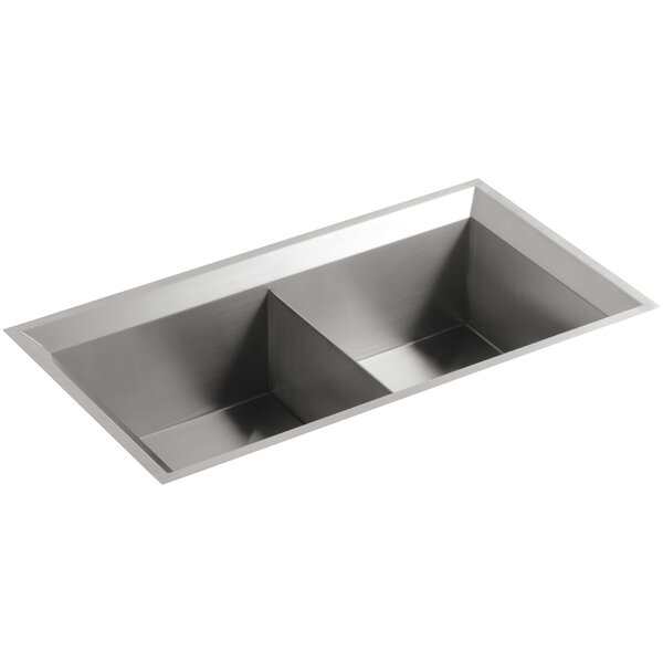 Poise 33 L x 18 W x 9-3/4 Under-Mount Double-Equal Bowl Kitchen Sink with Mirror Finished Rim by Kohler