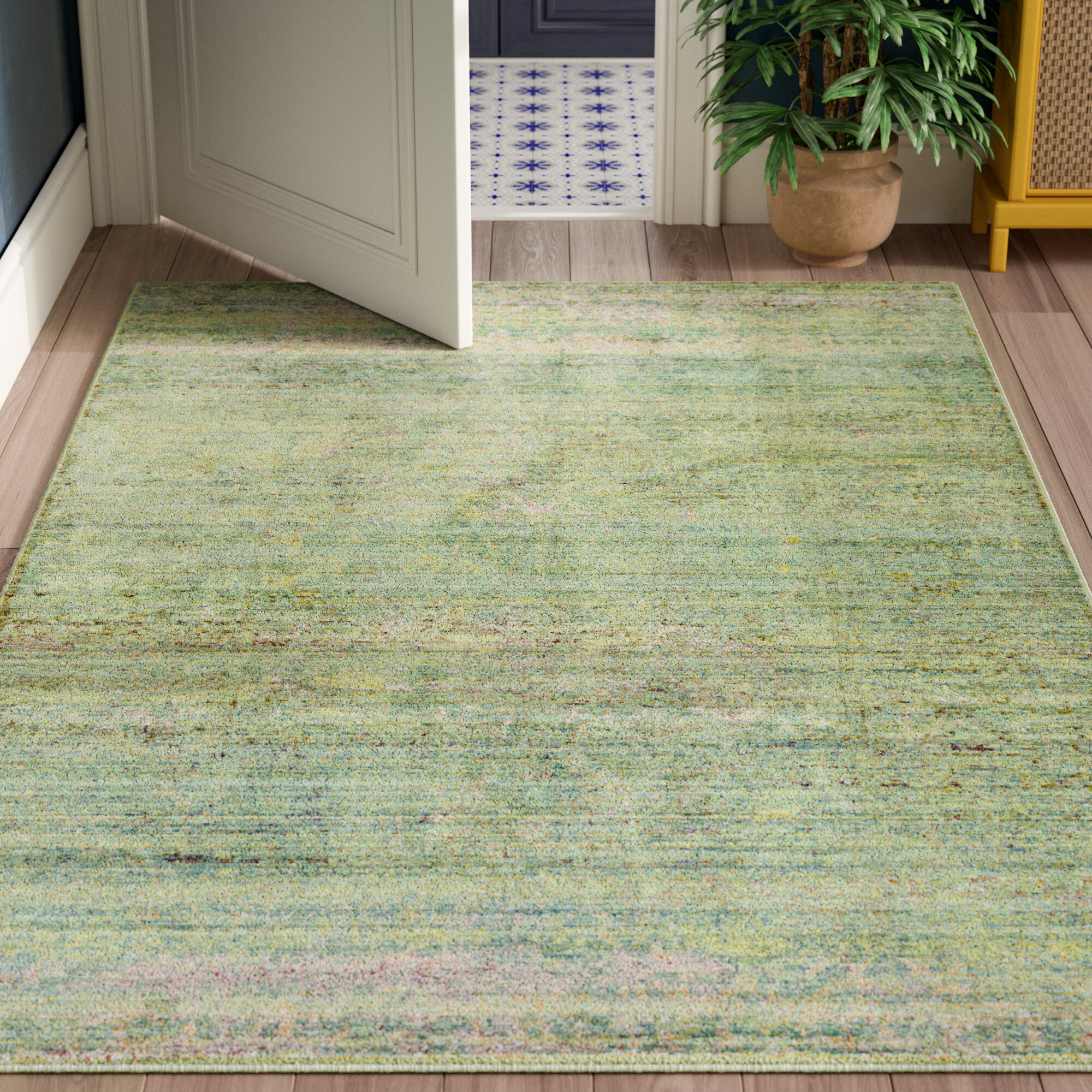 Danbury Abstract Green Area Rug