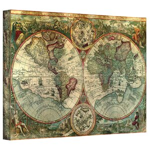 Antique Map of the World' Framed Graphic Art Print on Canvas by World Menagerie