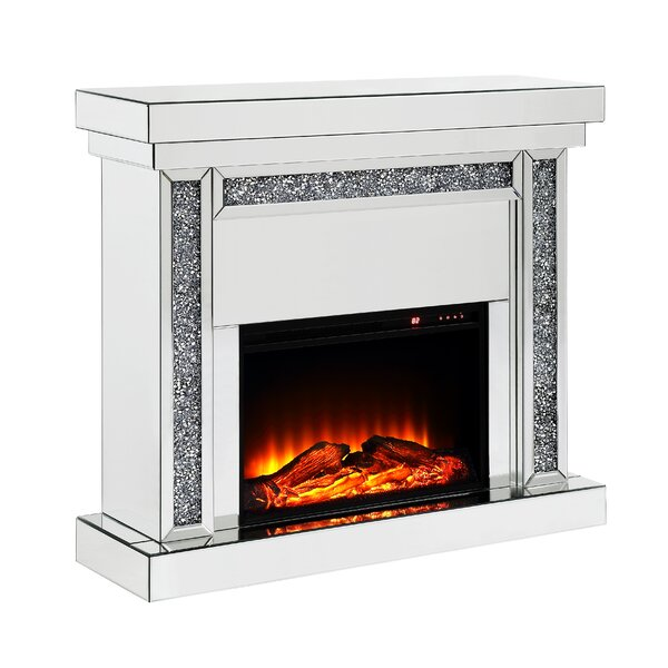 Lowall Mirrored Top Electric Fireplace By Mercer41