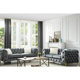 Moores 3 Piece Velvet Living Room Set by Mercer41