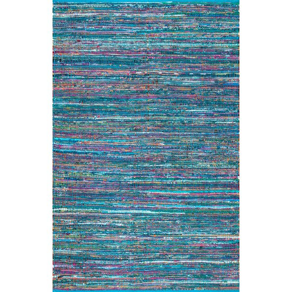 Fotou Hand Braided Cotton Blue Area Rug by Ebern Designs