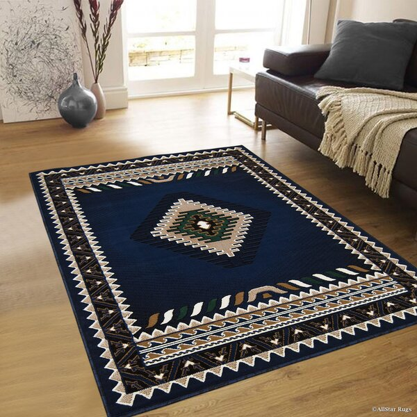 Iberide High-Quality Woven Navy Area Rug by Loon Peak
