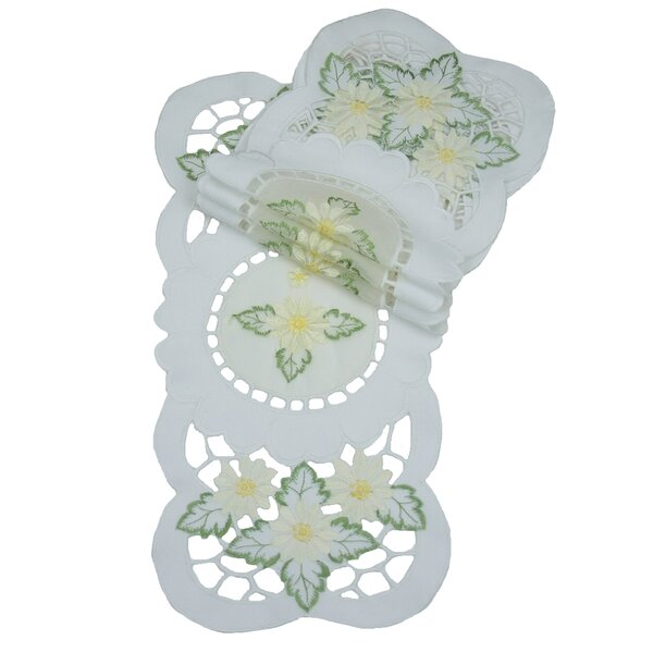 Elegant Daisy Embroidered Cutwork Traycloth Runner (Set of 4) by Xia Home Fashions