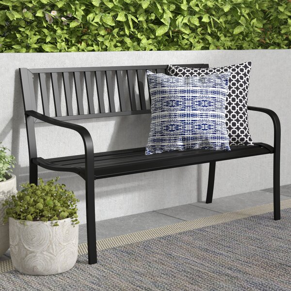 Dorsey Slatted Steel Garden Bench by Winston Porter