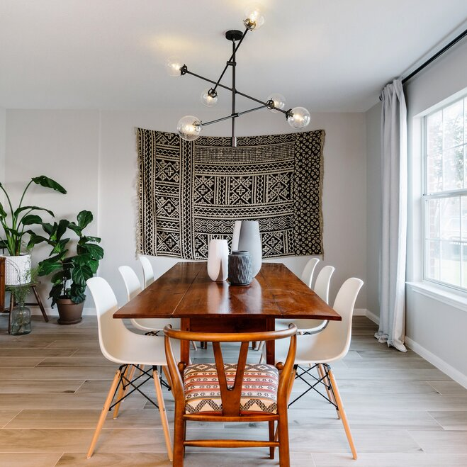 Boho Dining Room With Mid Century Chandelier