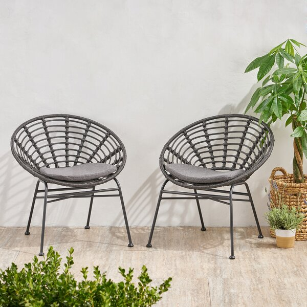 Tarrance Wicker Patio Dining Chair with Cushion (Set of 2) by Bungalow Rose