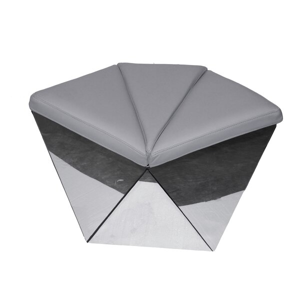 Stratton Geometric Leather Ottoman by Orren Ellis