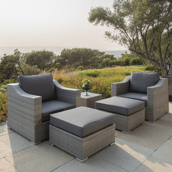 Boyce 5 Piece Rattan Sectional Seating Group with Cushions by Rosecliff Heights Rosecliff Heights