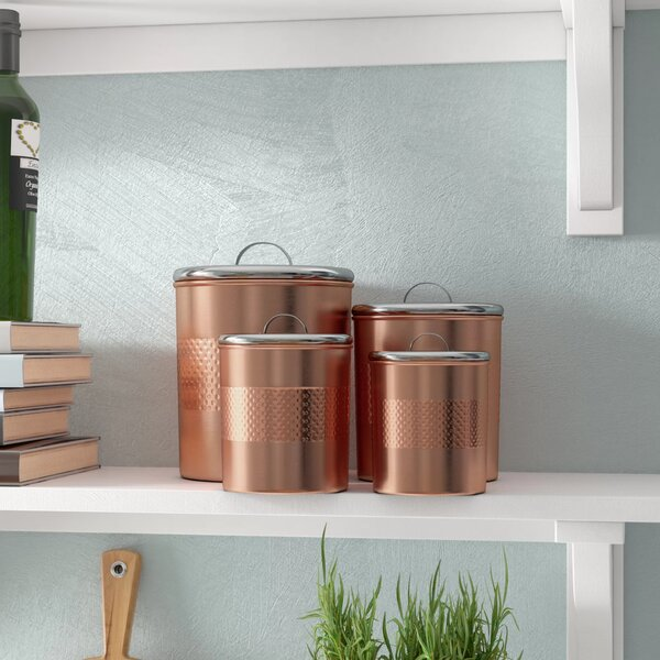 Hammered Kitchen 4 Piece Canister Set by Langley Street