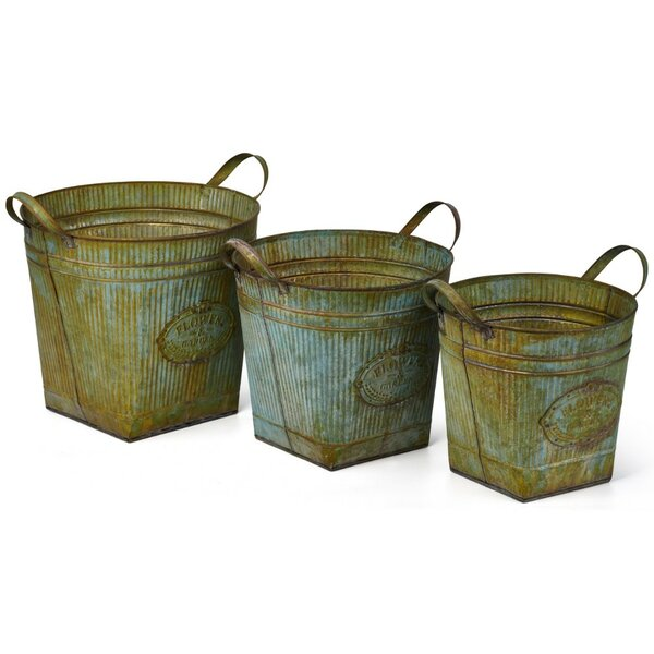 Stoke Bishop 3-Piece Iron Pot Planter Set by August Grove