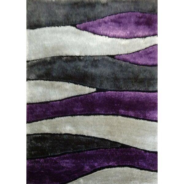 Owens Shaggy Hand-Tufted Gray/Purple Area Rug by Orren Ellis