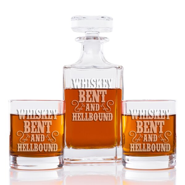 Whiskey Bent And Hell Bound Classic Square 3 Piece Beverage Serving Set by East Urban Home