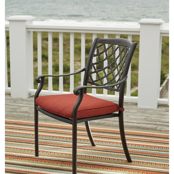 Burgett Stacking Patio Dining Chair With Cushion (Set Of 4) By Three Posts