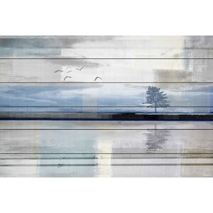 'Shimmering Reflection' by Parvez Taj Painting Print on White Wood by Parvez Taj