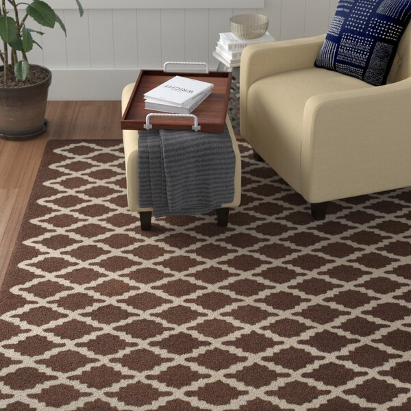Darla Dark Brown Geometric Area Rug by Winston Porter