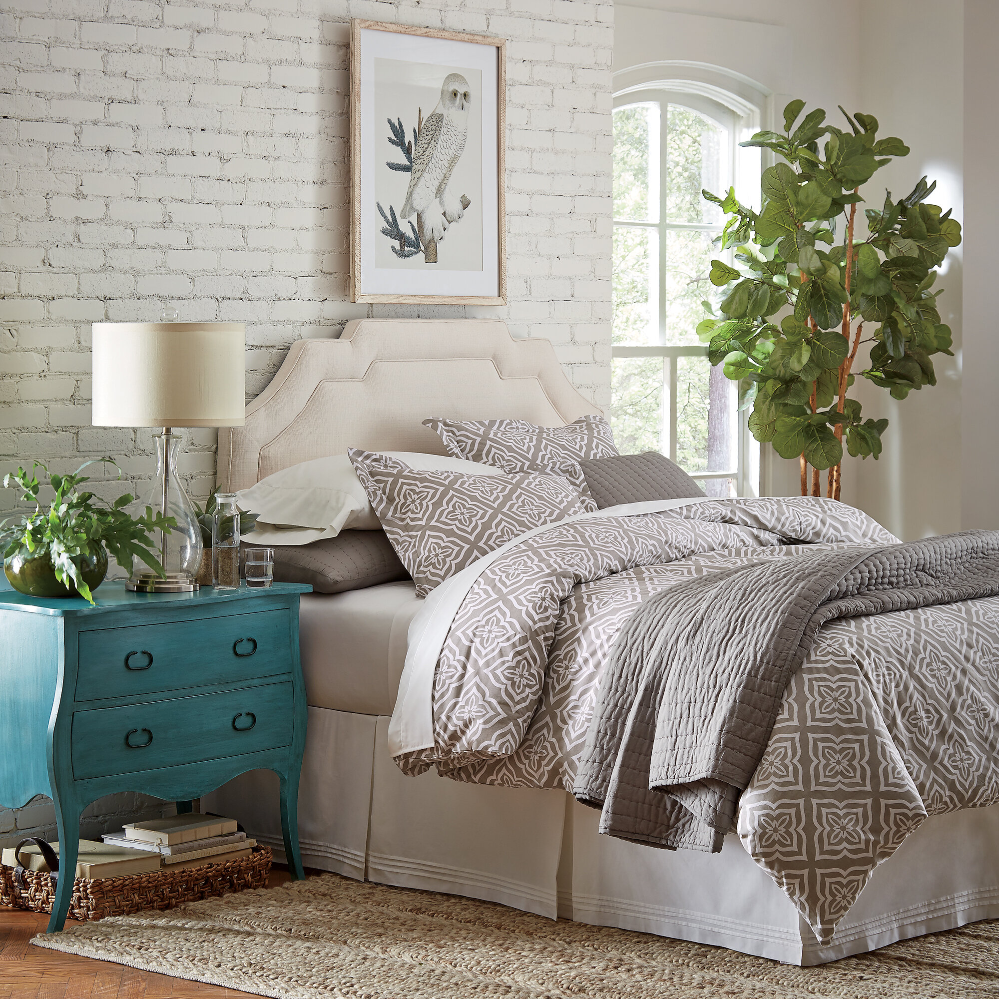 gray king upholstered fabric next product platform gry size lux bed previous bath lifestyle myhome headboard