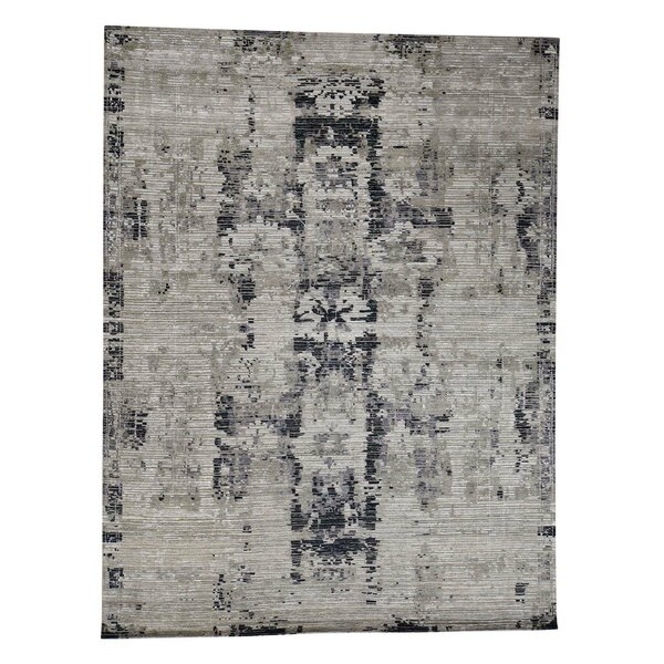 One-of-a-Kind Nelumbo Cut and Loop Abstract Oriental Hand-Knotted Silk Brown Area Rug by Williston Forge