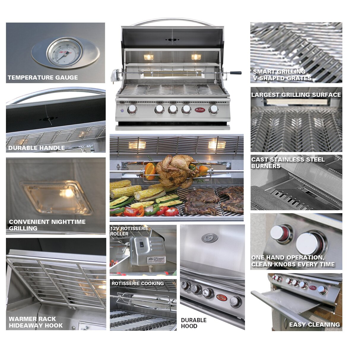 CalFlame 4-Burner Built In Propane Gas Grill with Cabinet | Wayfair