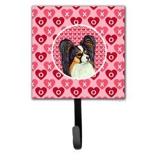 Papillon Valentine's Love and Hearts Leash Holder and Wall Hook by Caroline's Treasures