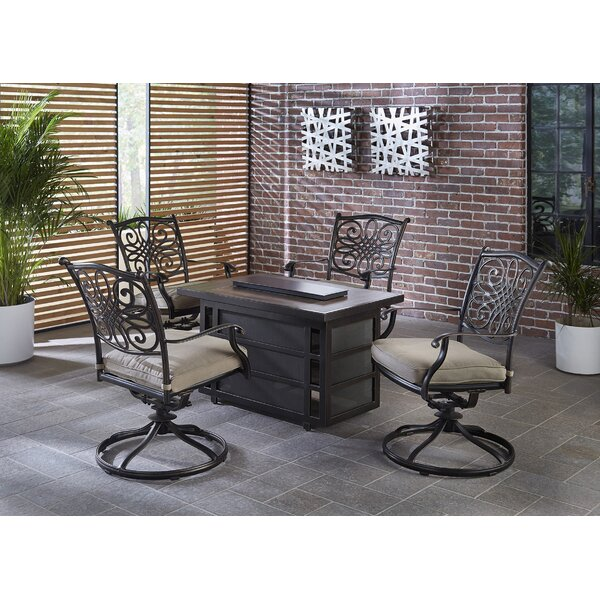 Carleton 5 Piece Firepit Set with Cushions by Fleur De Lis Living