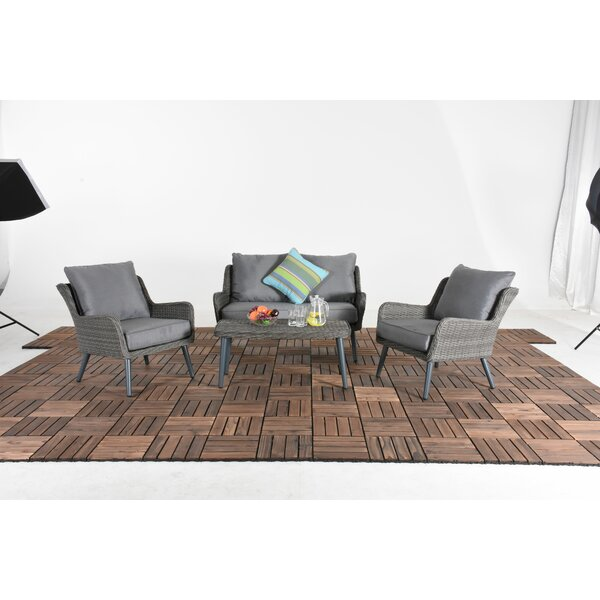 Lovie Patio 4 Piece Rattan Sofa Seating Group with Cushion by Bungalow Rose