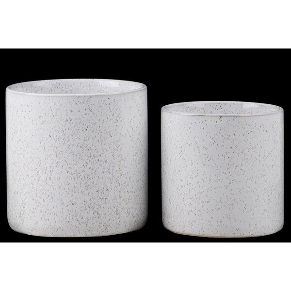 Wayzata Round 2-Piece Ceramic Pot Planter Set by Gracie Oaks