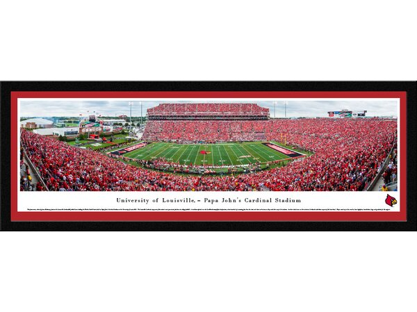 NCAA Louisville Cardinals Football 50 Yard Line Framed Photographic Print by Blakeway Worldwide Panoramas, Inc