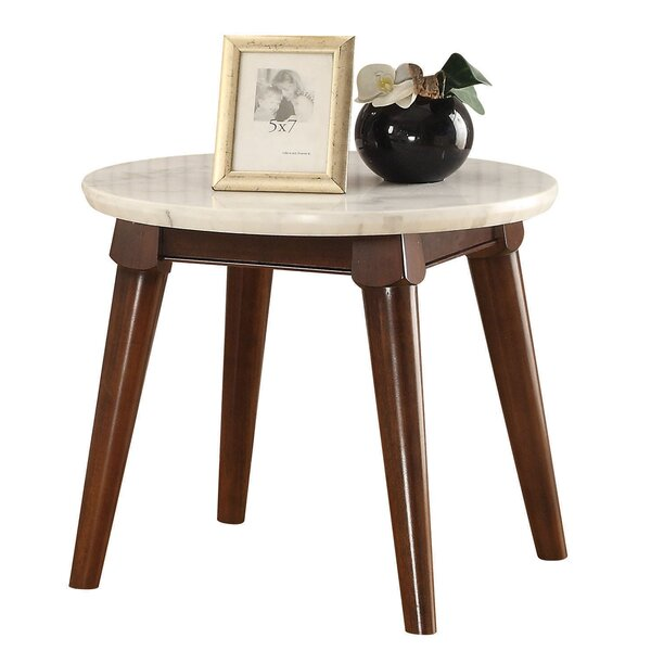Caledonia Marble Top Wooden Base End Table by Ivy Bronx
