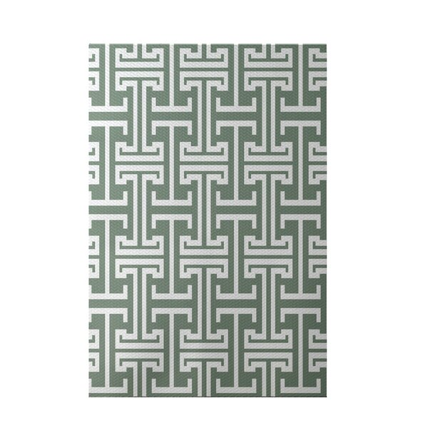 Greek Isles Geometric Print Dusty Miller Indoor/Outdoor Area Rug by e by design